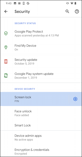 android 10 security settings - pin code