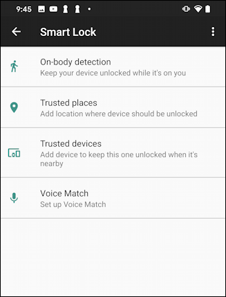 android 10 - smart lock - security options features