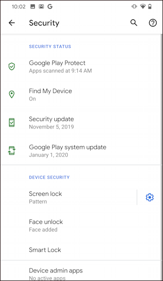 android screen security settings - pattern - default settings