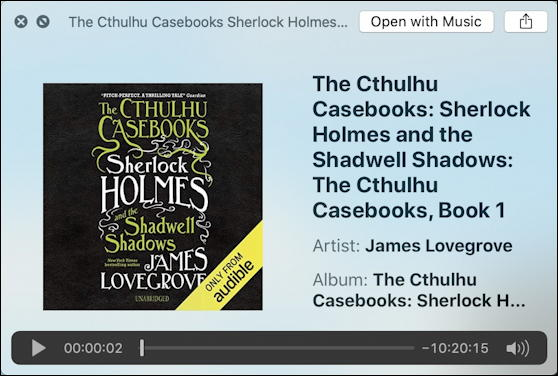 macos x audio preview - cthulhu sherlock holmes audio book - mp3