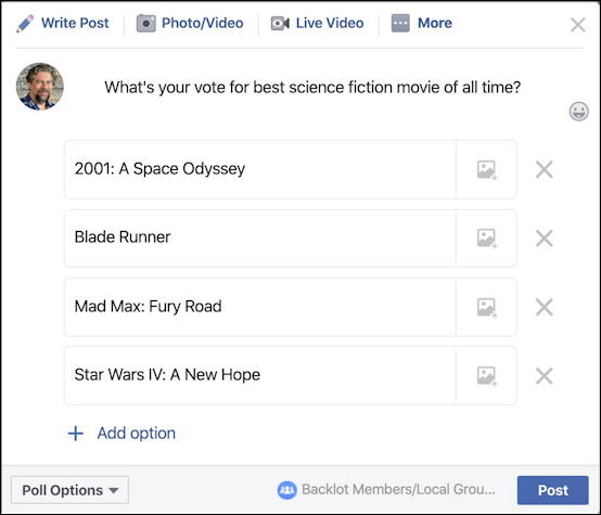 facebook poll- building options