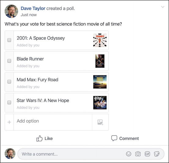 facebook best movie poll - posted