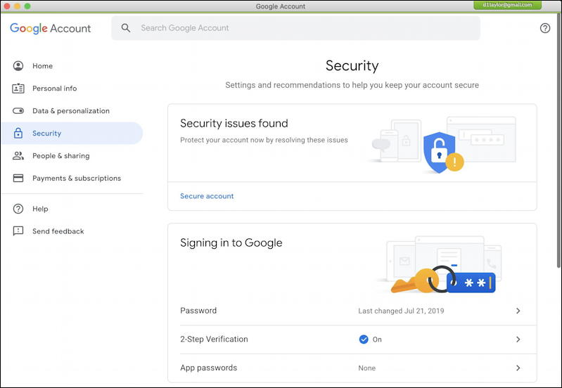 google account information - security checkup