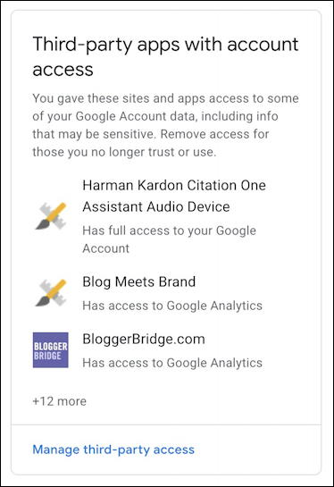 third party sites with google account access