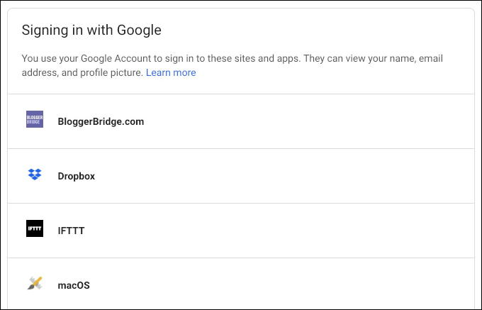 sites logging in with your google account information