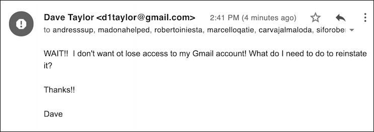 bogus response - google phishing attack scam - yandex.ru
