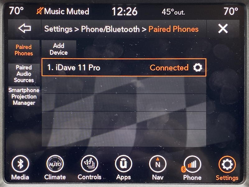 uconnect jeep nav system - list of paired phones