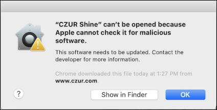 mac can't be opened - cannot check for malicious software error warning window message