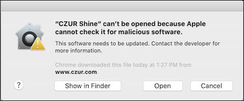 mac cant open malicious software - open anyway