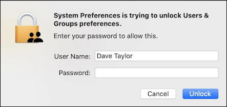 mac macos x - verify password system preferences