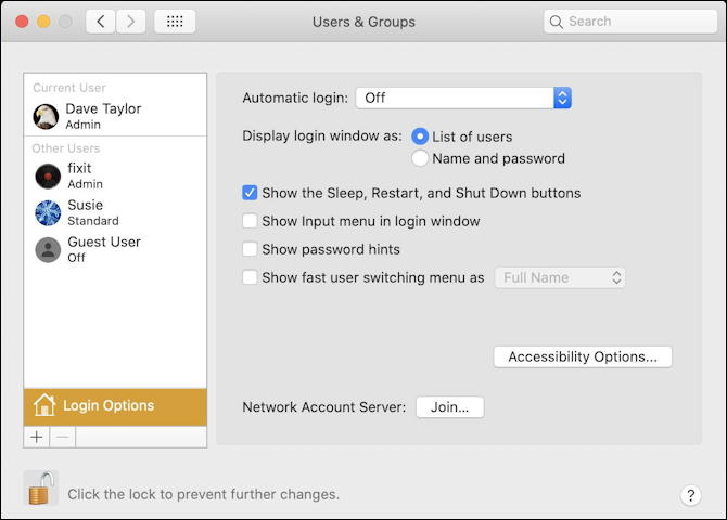 mac macos x - system preferences - users groups - login options