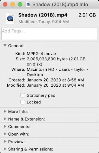 mac file > get info mp4