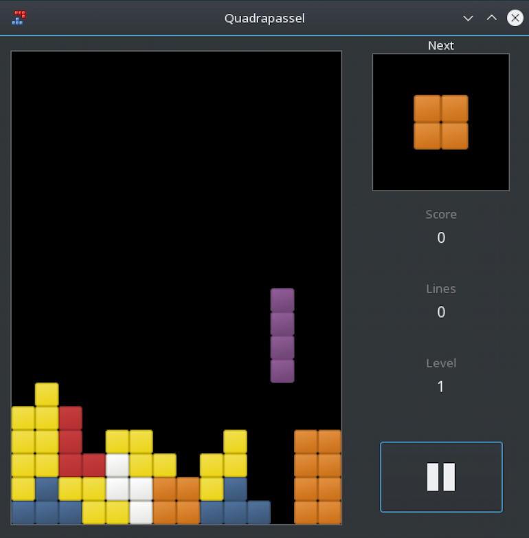 opensuse linux - tetris clone quadrapassel game app