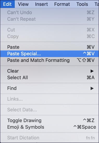 microsoft word - edit - paste special mac macos x