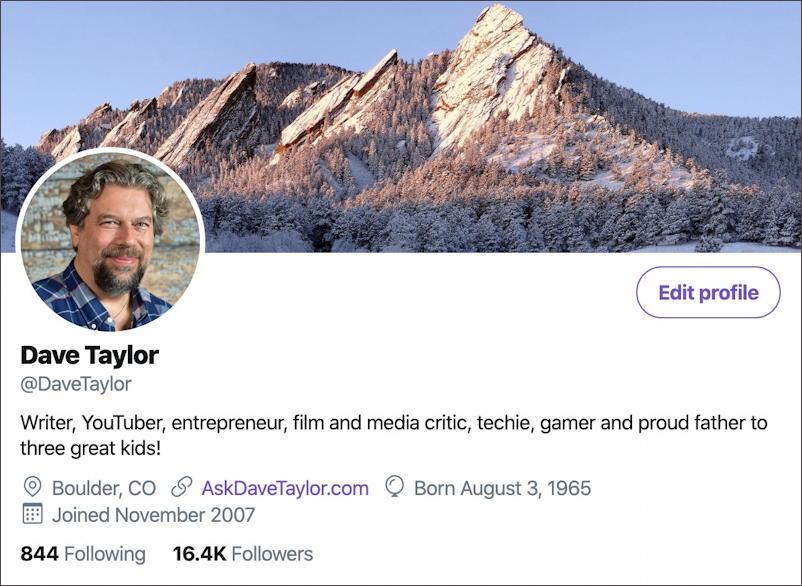 DaveTaylor twitter profile info
