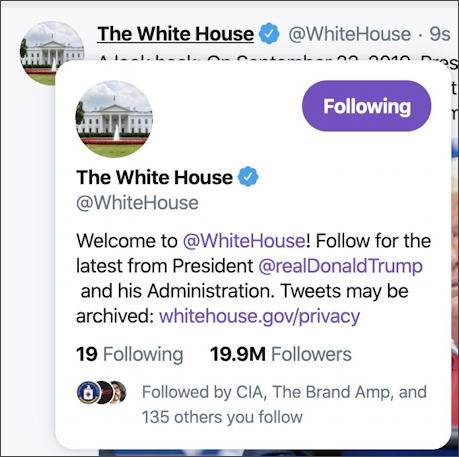 the whitehouse twitter account info