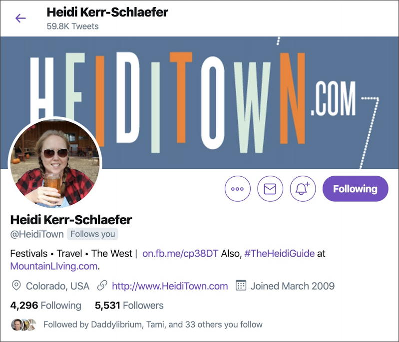 heiditown twitter account profile info