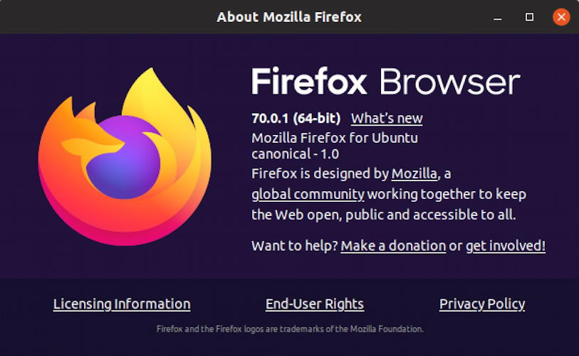 firefox for ubuntu linux, about splash screen, version 70