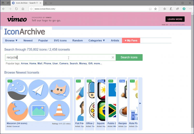iconarchive web site home page