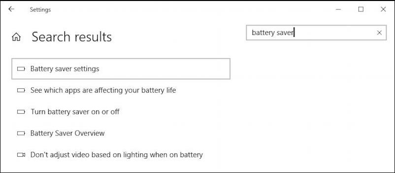 windows 10 - control panels - search battery saver