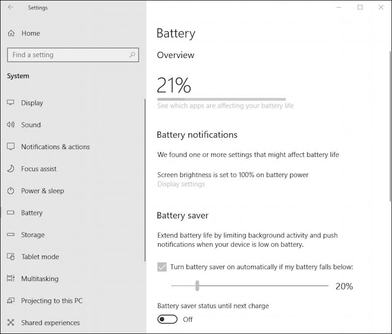 win10 battery saver settings preferences