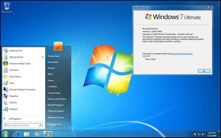 windows 7 ultimate home screen desktop