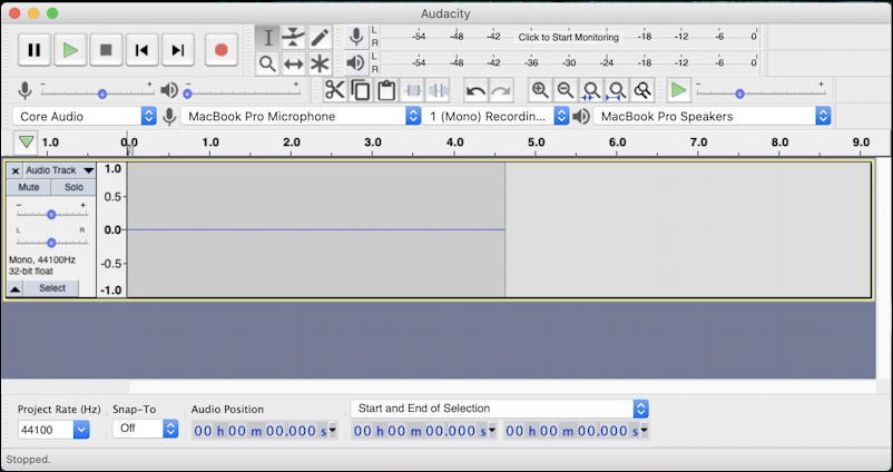 mac audacity no signal mic audio