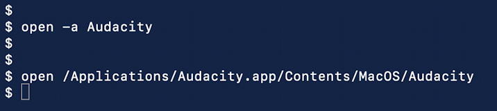 launch audacity mac macos x catalina command line fix