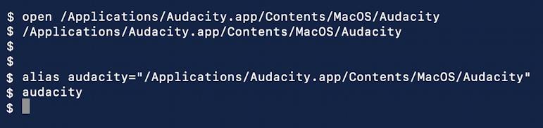 audacity alias macos x command line terminal