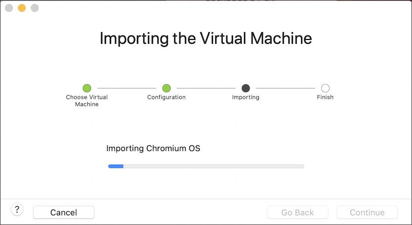 vmware fusion - install chromeos chromiumos - importing virtual machine vm