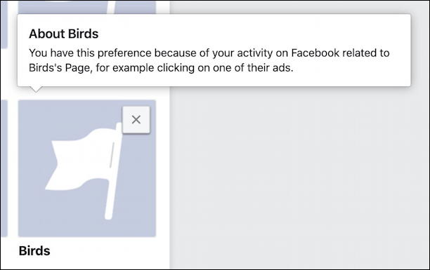 facebook ad preferences - remove target keyword settings privacy