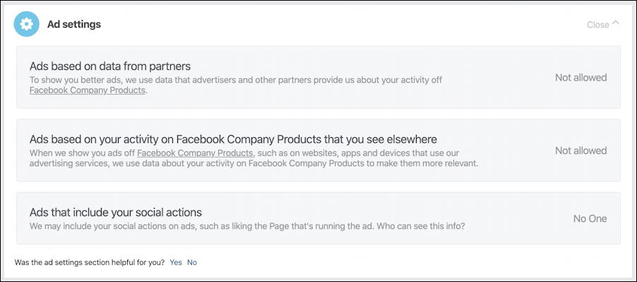 facebook ad preferences - ad settings