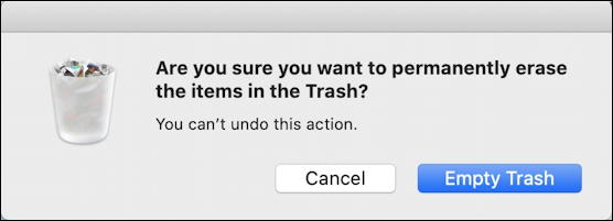 mac - sure you want to empty trash