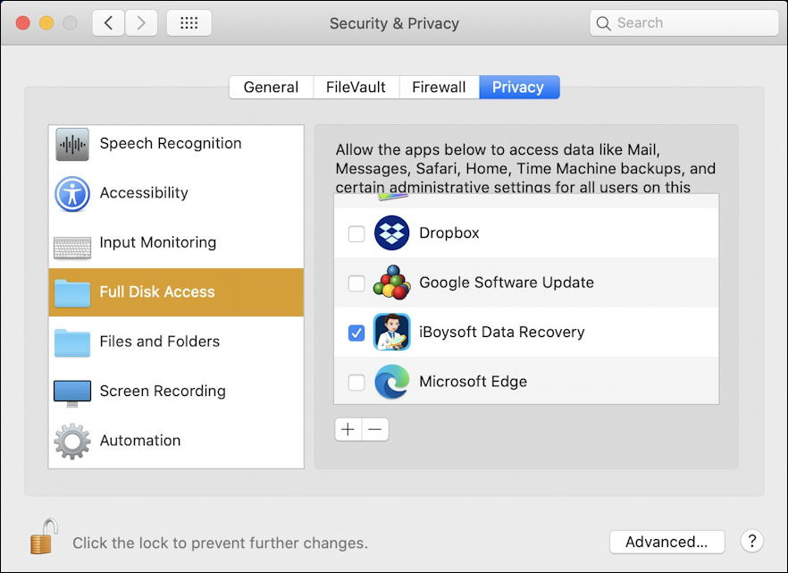 MacOS X > System Preferences > Security & Privacy > Privacy