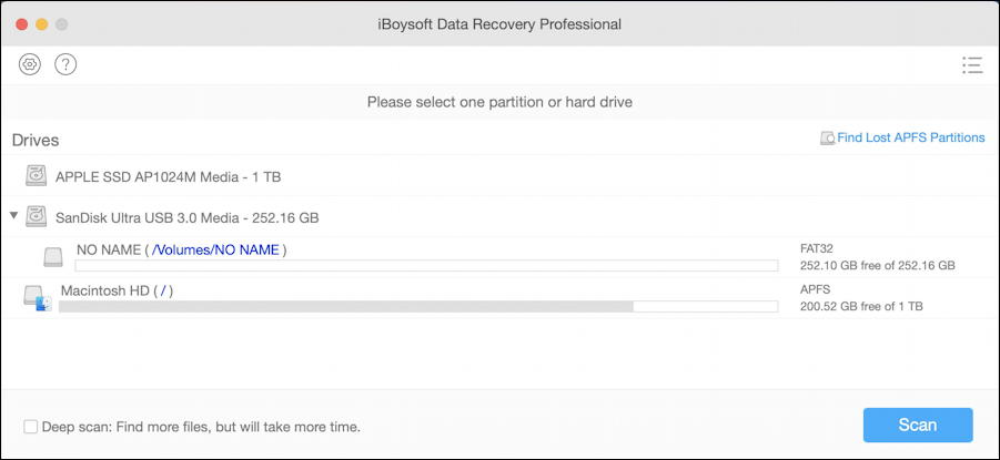 iboysoft data recovery pro for mac - list of drives