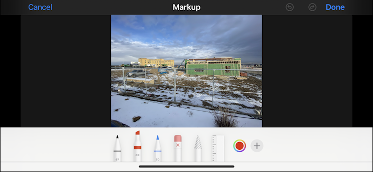 iphone ios13 photo in photos app - markup annotation