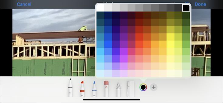iphone ios13 photo in photos app - color picker chooser