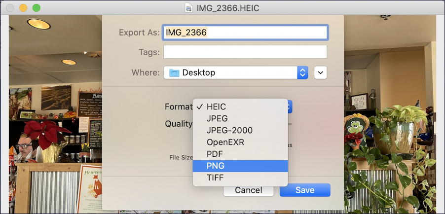 iphone mac airdrop - preview save HEIC as PNG JPG