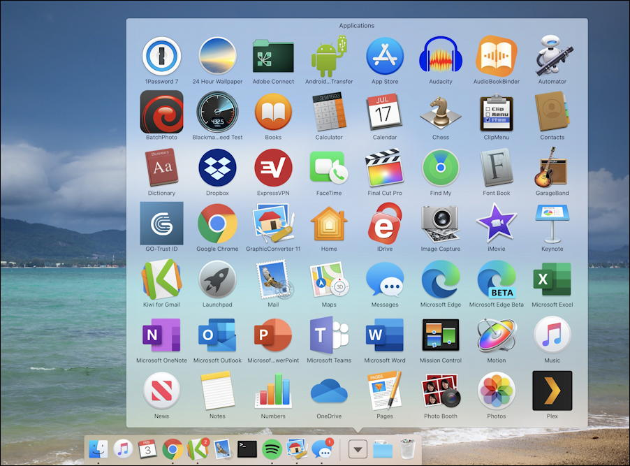 mac macos x - dock - grid view folder