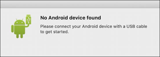 android file transfer - no phone found