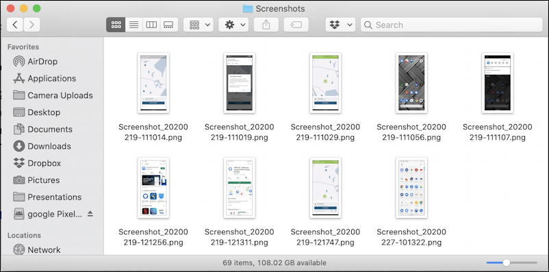 android screenshots captures - file system mac macos x - macdroid