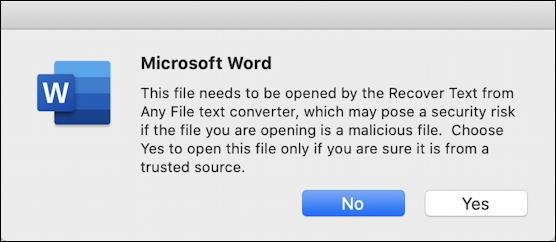 microsoft word mac - recover repair - warning on repair recovery