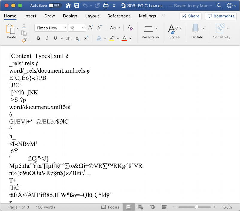 microsoft word mac - restore repair recover text - recovered junk