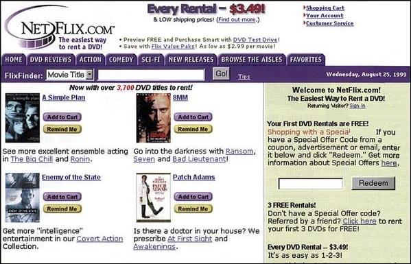 netflix home page, 1999