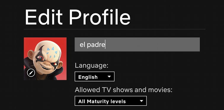netflix edit profile