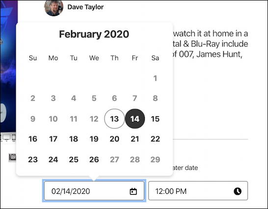 add pinterest scheduled pin post - choose date calendar