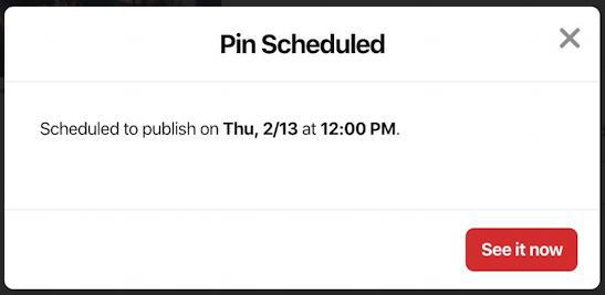 add pinterest scheduled pin post - pin scheduled