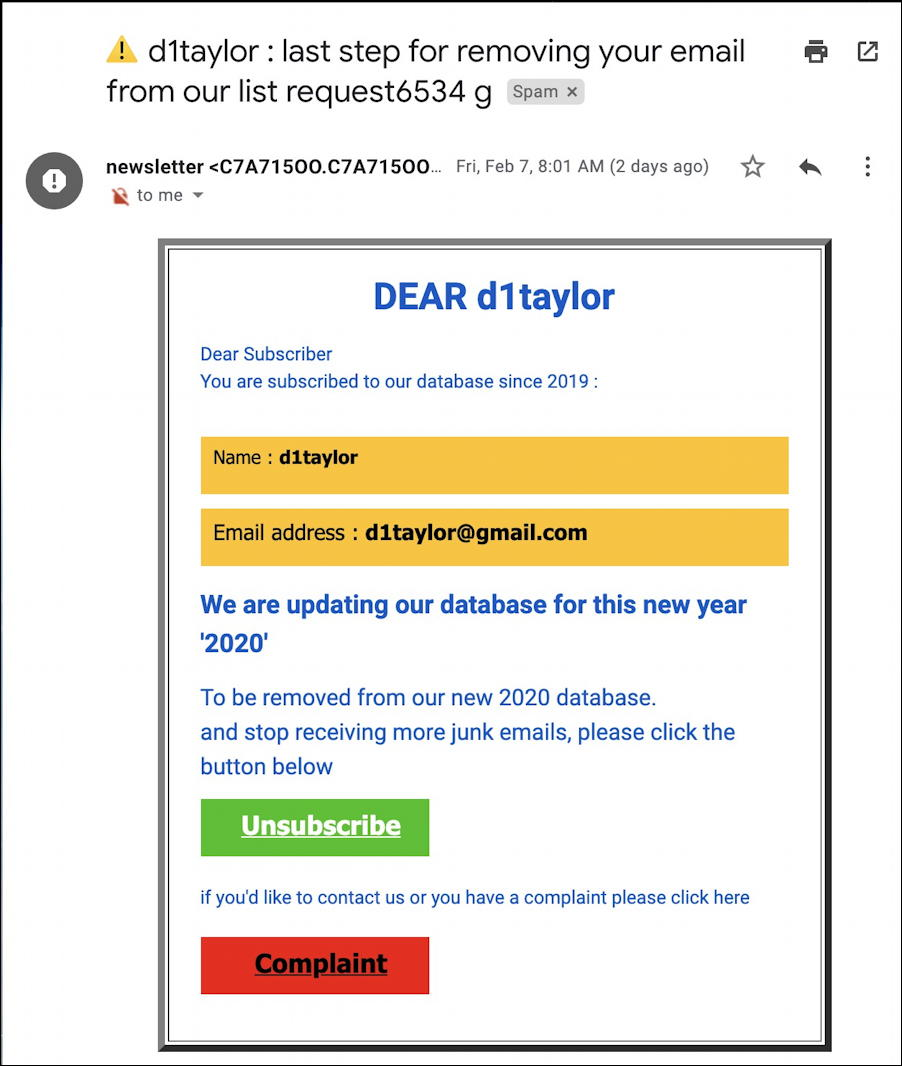 spam: click to unsubscribe scam email