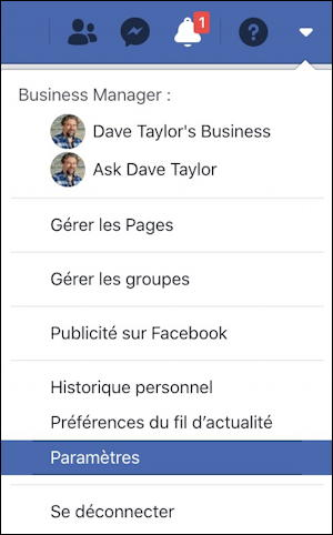 Facebook main menu - French
