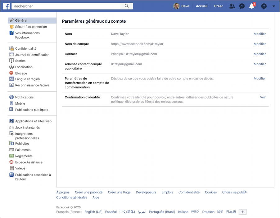 facebook settings page - in french